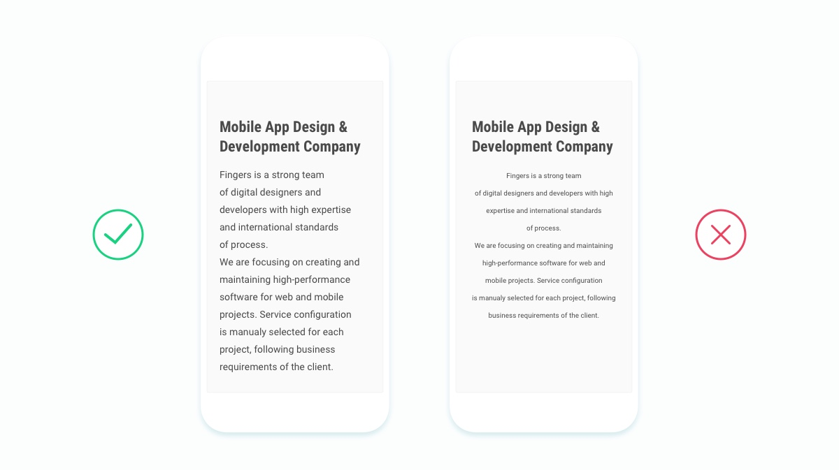 Text styles in web and mobile design